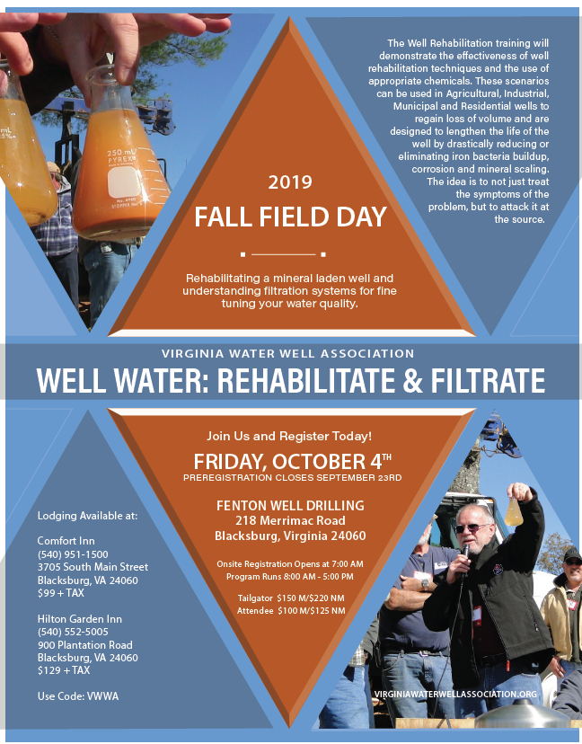 Water well drilling demonstration day.  Contractor education for well rehabilitation and water filtration.  In southwest Virginia for groundwater professionals.  Friday, October 4th 2019.  Register today!